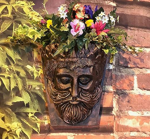 Pack de 2 reyes cabeza jardín pared macetas bronce efecto 6 litros ...