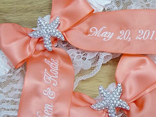 Coral Starfish Bridal Garter, You're Next Wedding Garter Set, Custom Garters