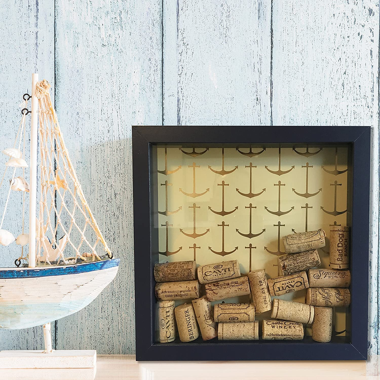 Amazon.com: Nautical Wine Cork Shadow Box, Anchor Theme, Navy & Gold ...