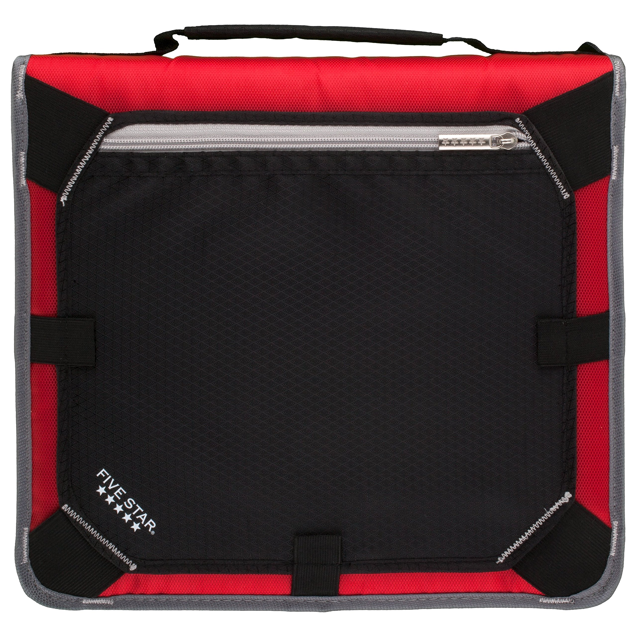 Five Star 2 Inch Zipper Binder, Expansion Panel, Durable, Red/Gray (29052BE7)