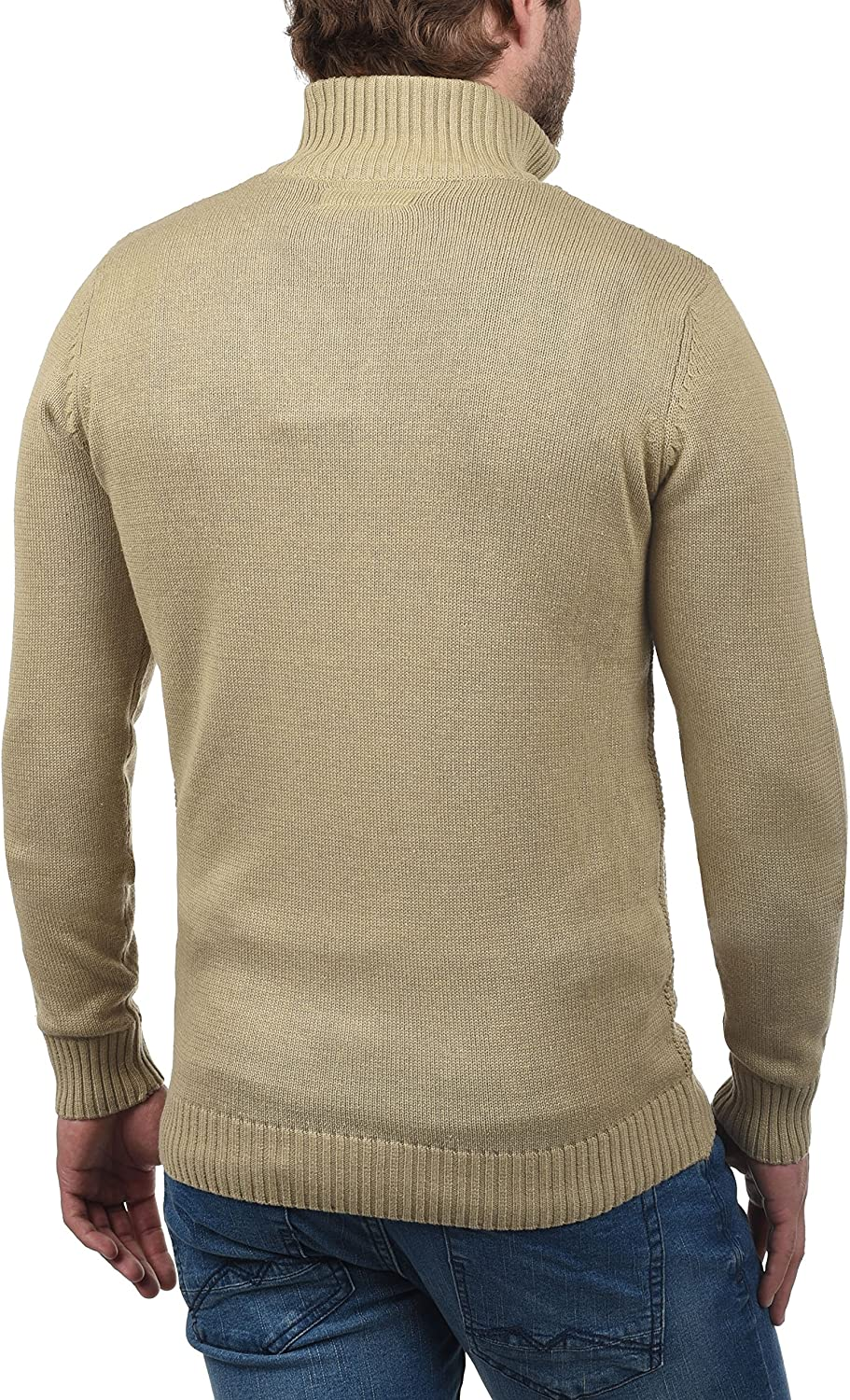 Solid Tristian Mens Cardigan Knit Jacket with Funnel Neck with Zipper