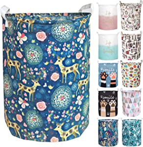 Aouker Merdes 19.7'' Waterproof Foldable Laundry Hamper, Dirty Clothes Laundry Basket, Linen Bin Storage Organizer for Toy Collection (Deer)