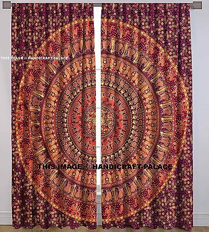 Elephant Mandala Tapestry Indian Curtain Window Drapes Valances 2 Panels Set Curtains