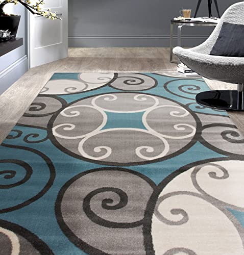 Rugshop Modern Scroll Circles Desing Area Rug 3 3 x 5 Blue