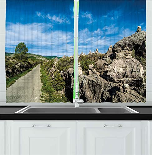 Ambesonne Landscape Kitchen Curtains, Rural Nature Scenery with Large Rock Formation and Greenery with Sunny Summer Sky, Window Drapes 2 Panel Set for Kitchen Cafe Decor, 55 X 39 , Blue Green