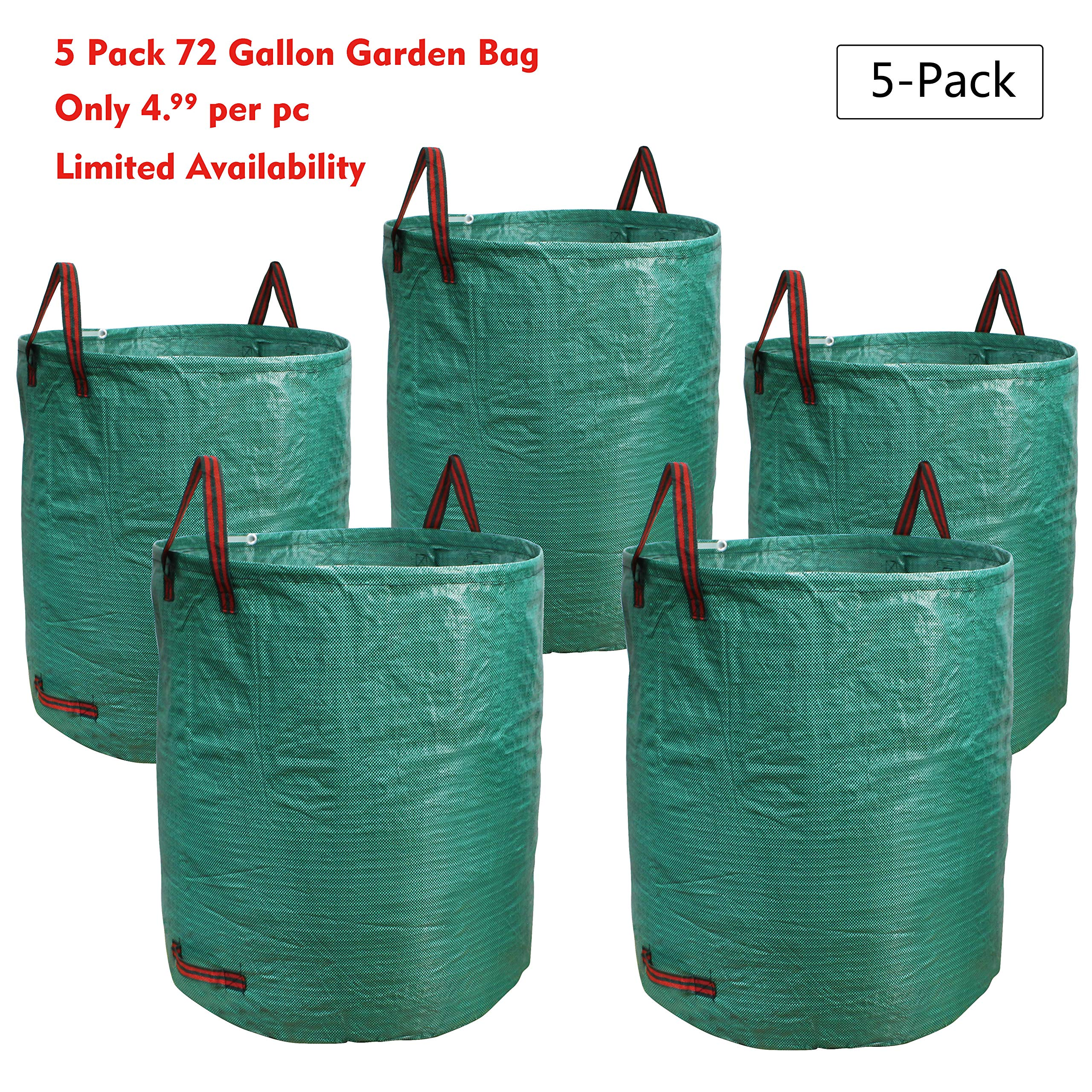 PHYEX 5-Pack 72 Gallons Garden Bag Heavy Duty Gardening Bags, Lawn Pool Garden Leaf Waste Rubbish Plants Grass Bag (5 X 72Gallons) by PHYEX