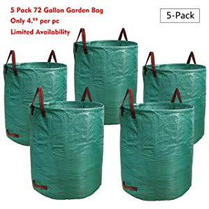 PHYEX 5-Pack 72 Gallons Garden Bag Heavy Duty Gardening Bags, Lawn Pool Garden Leaf Waste Rubbish Plants Grass Bag (5 X 72Gallons)