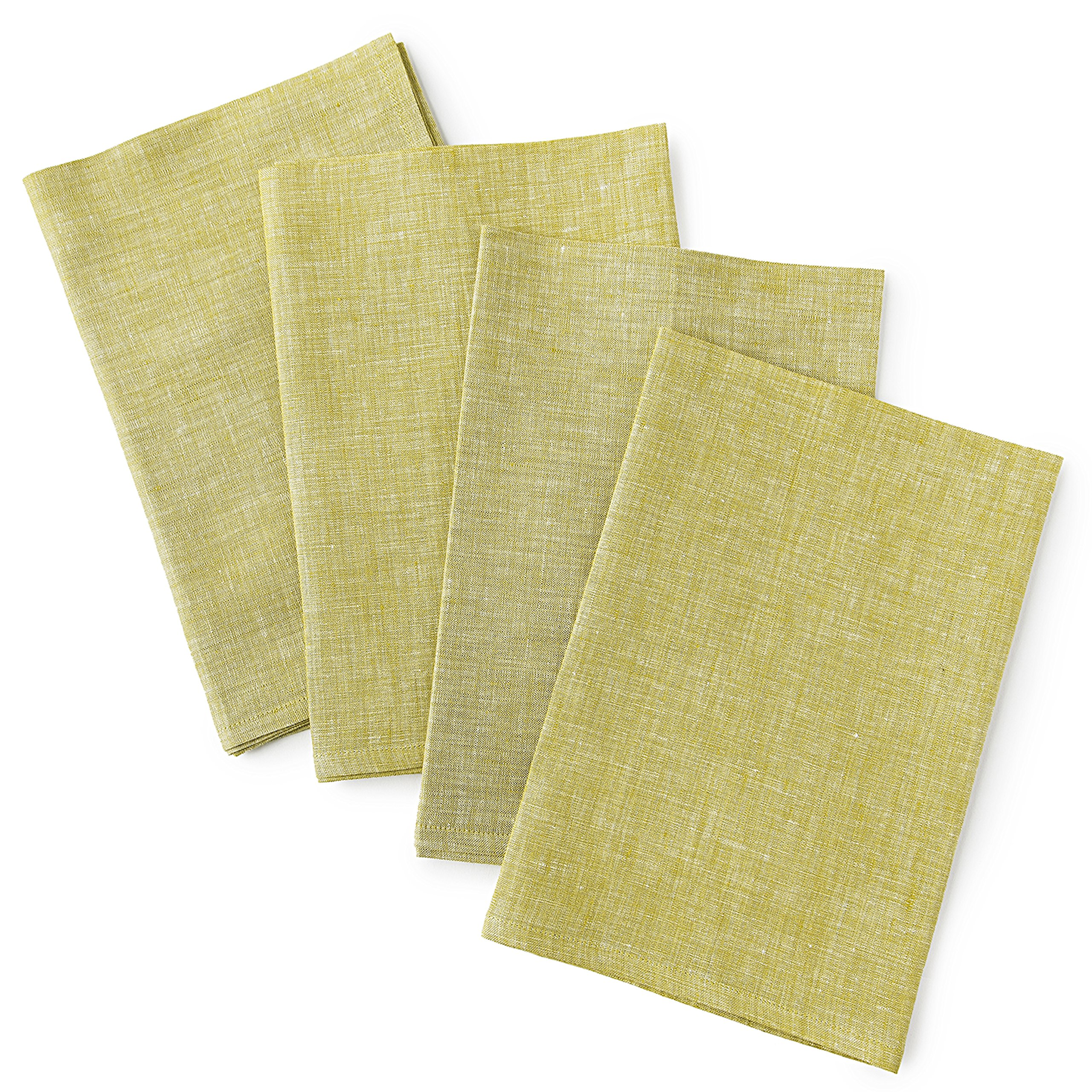 Solino Home Linen Dinner Napkins - 20 x 20 Inch Chambray Olive, 4 Pack Linen Napkins, Bella - 100% European Flax - Soft & Handcrafted with Mitered Corners by Solino Home