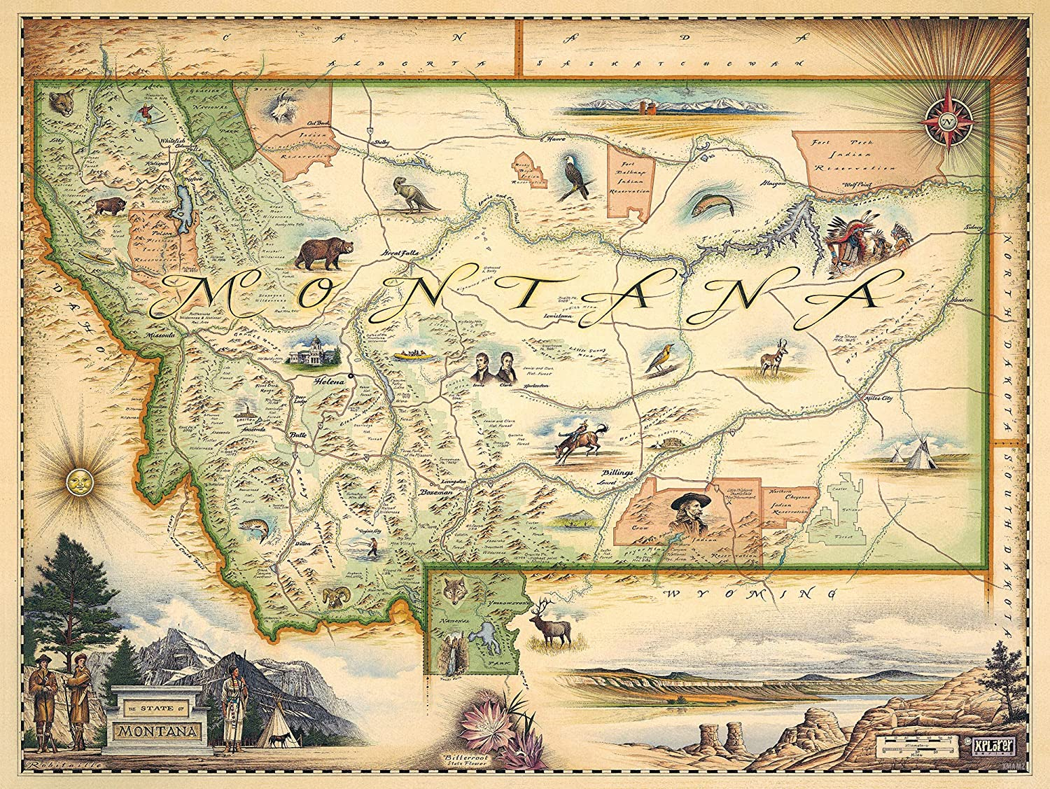 Montana State Map Wall Art Poster - Authentic Hand Drawn Maps in Old World,  Antique Style - Art Deco - Lithographic Print
