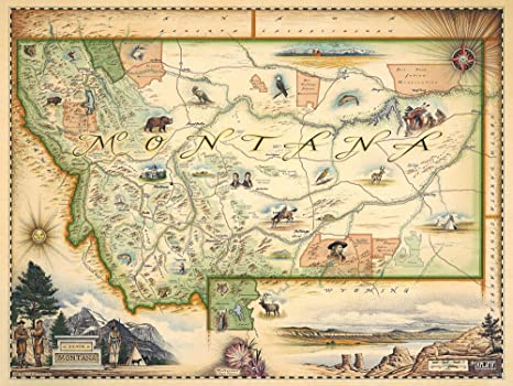 Xplorer Maps Montana State Map - Map Art, Lithographic Print - Hand-Drawn  Art in Antique Style