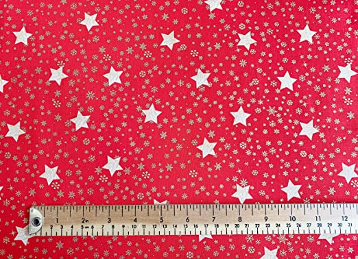 Christmas Gold Stars on White 100/% Cotton Fabric 135cm Wide