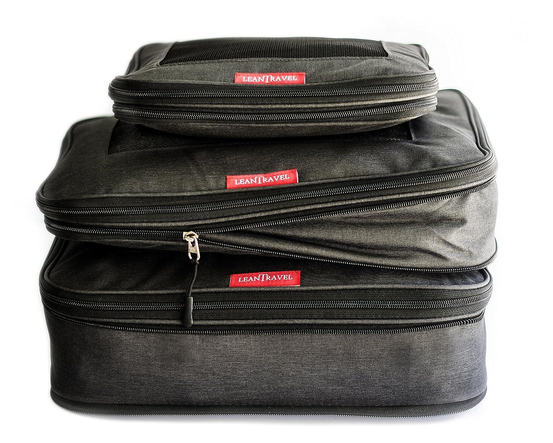 d3c4d53f8fff LeanTravel Compression Packing Cubes Luggage Organizers (3) Set (Black)
