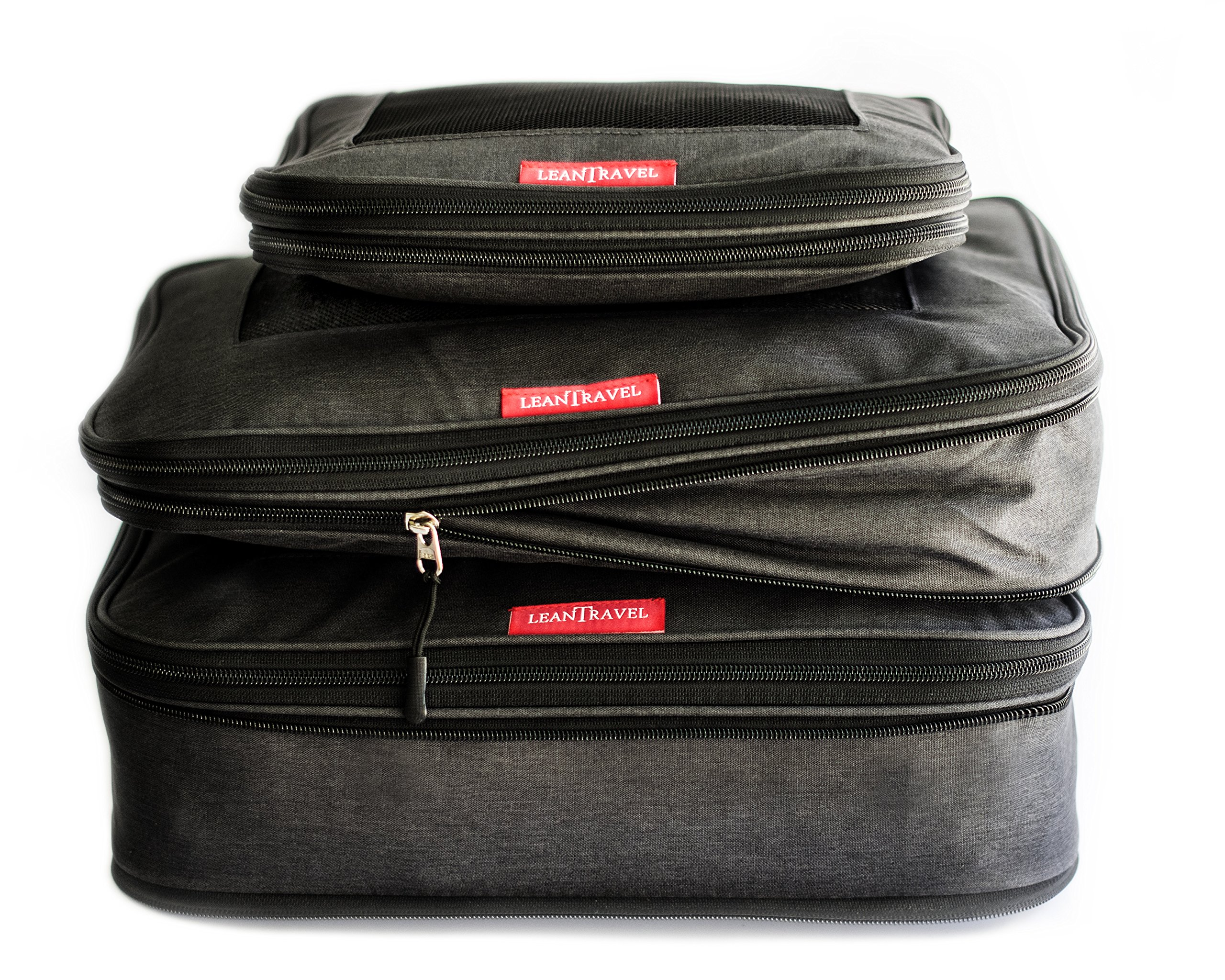 LeanTravel Compression Packing Cubes Luggage Organizers for Travel W/Double Zipper (3) Set - Color Black