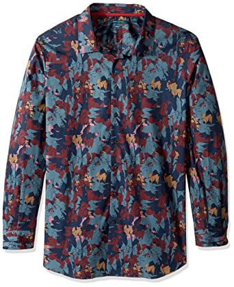 335ab0ea5e2373 Perry Ellis Men's Big and Tall Big & Tall Abstract Floral Shirt, Flint  Stone 2XL