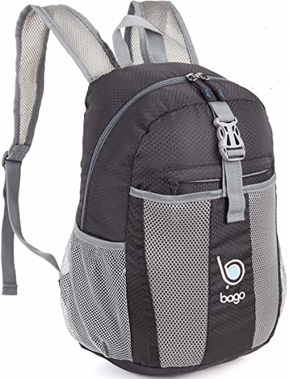 Bago Lightweight Backpack. Water Resistant Collapsible Rucksack for Travel and Sports