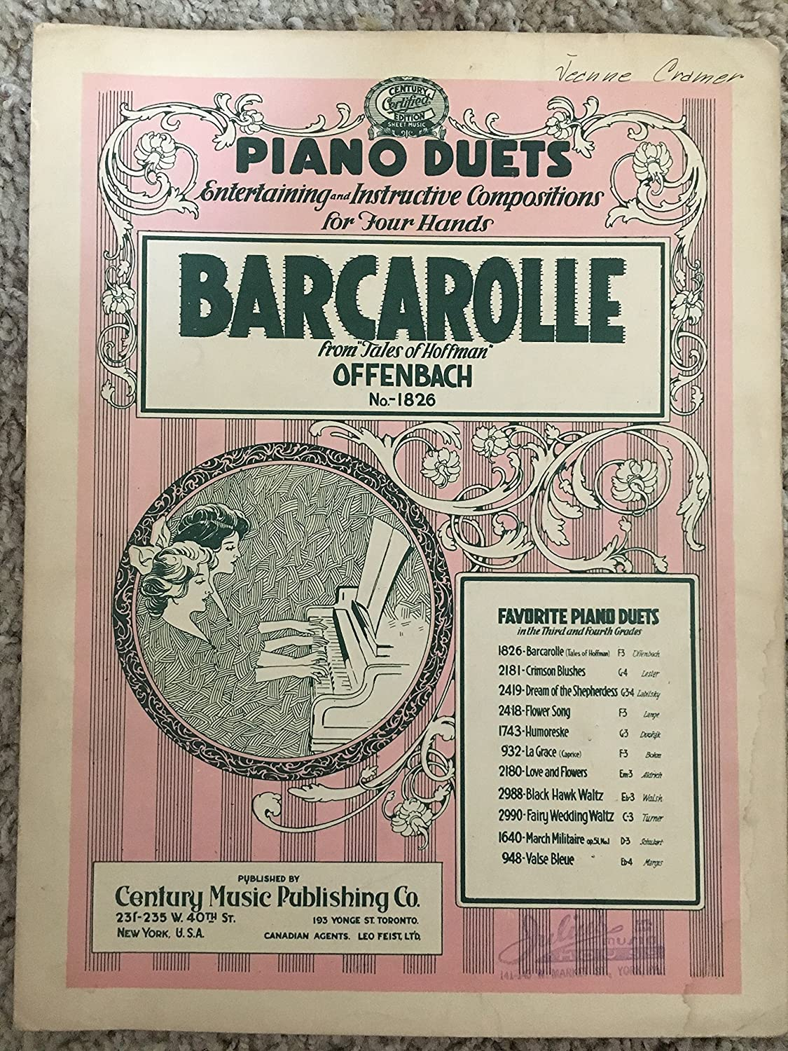 BARCAROLLE from TALES OF HOFFFMAN Piano Duet (Offenbach SHEET MUSIC