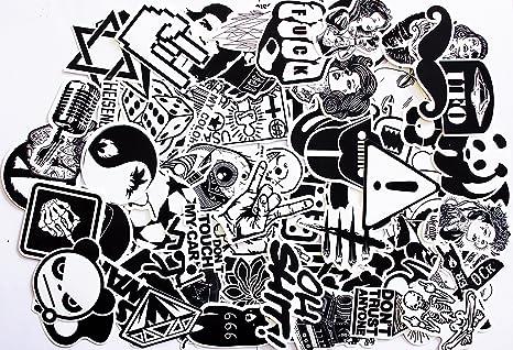 120 Stücke Aufkleber Schwarz-Weiß Graffiti Decals Bumper Stickers für Auto, Skateboard, Reisekoffer, Motorräder, Fahrräder, B