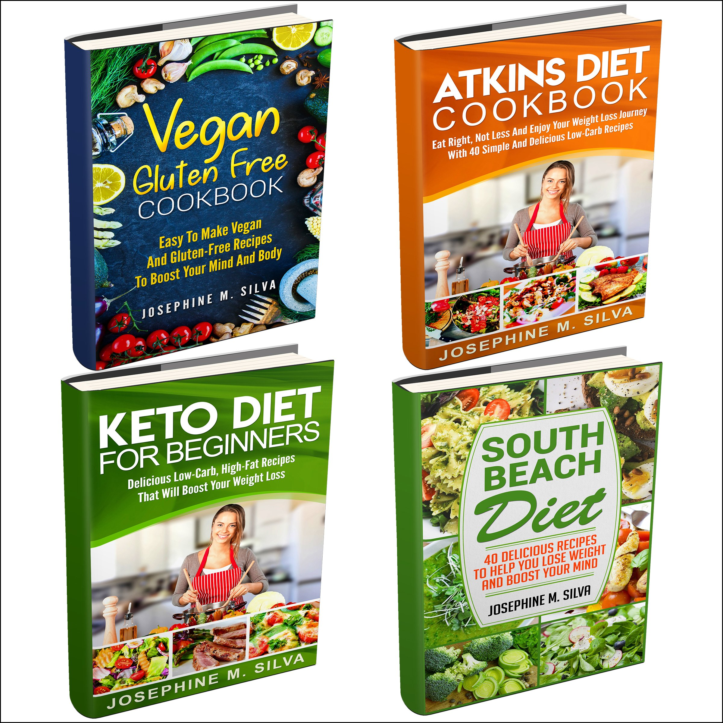 Weight Loss Diet Plans: 4 Manuscripts: Vegan Gluten Free Cookbook, Atkins Diet Cookbook, Keto Diet for Beginners, South Beach Diet