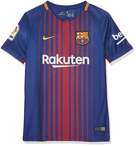 c0d1d2b11 Nike 2017 18 Kids FC Barcelona Stadium Jersey with Sponsor  DEEP Royal Blue