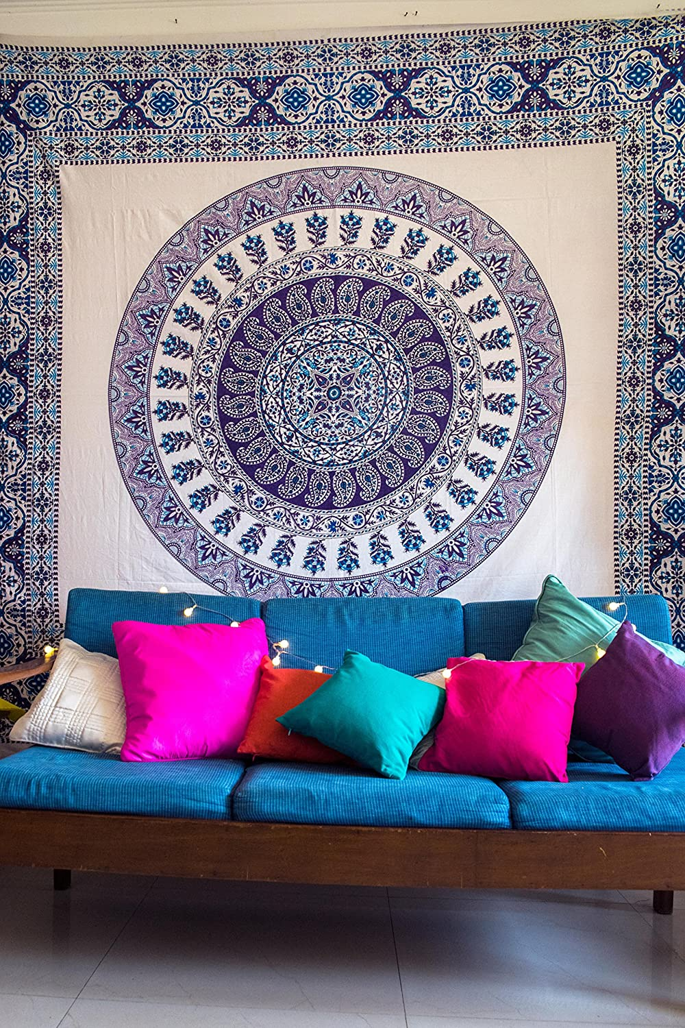 Home & Garden Fashion Style Hippie Star Mandala Cotton Floor Cushion Dog Bed Yoga Mat Couch Cover Blue Exquisite Traditional Embroidery Art Furniture