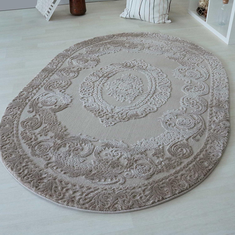 Teppich Oval Beige Medaillon Muster Velour Wohnzimmerteppich Kurzflor (160 x 230 cm)