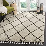 Safavieh Moroccan Fringe Shag Collection MFG244B Cream and Charcoal Grey Area Rug (3' x 5')