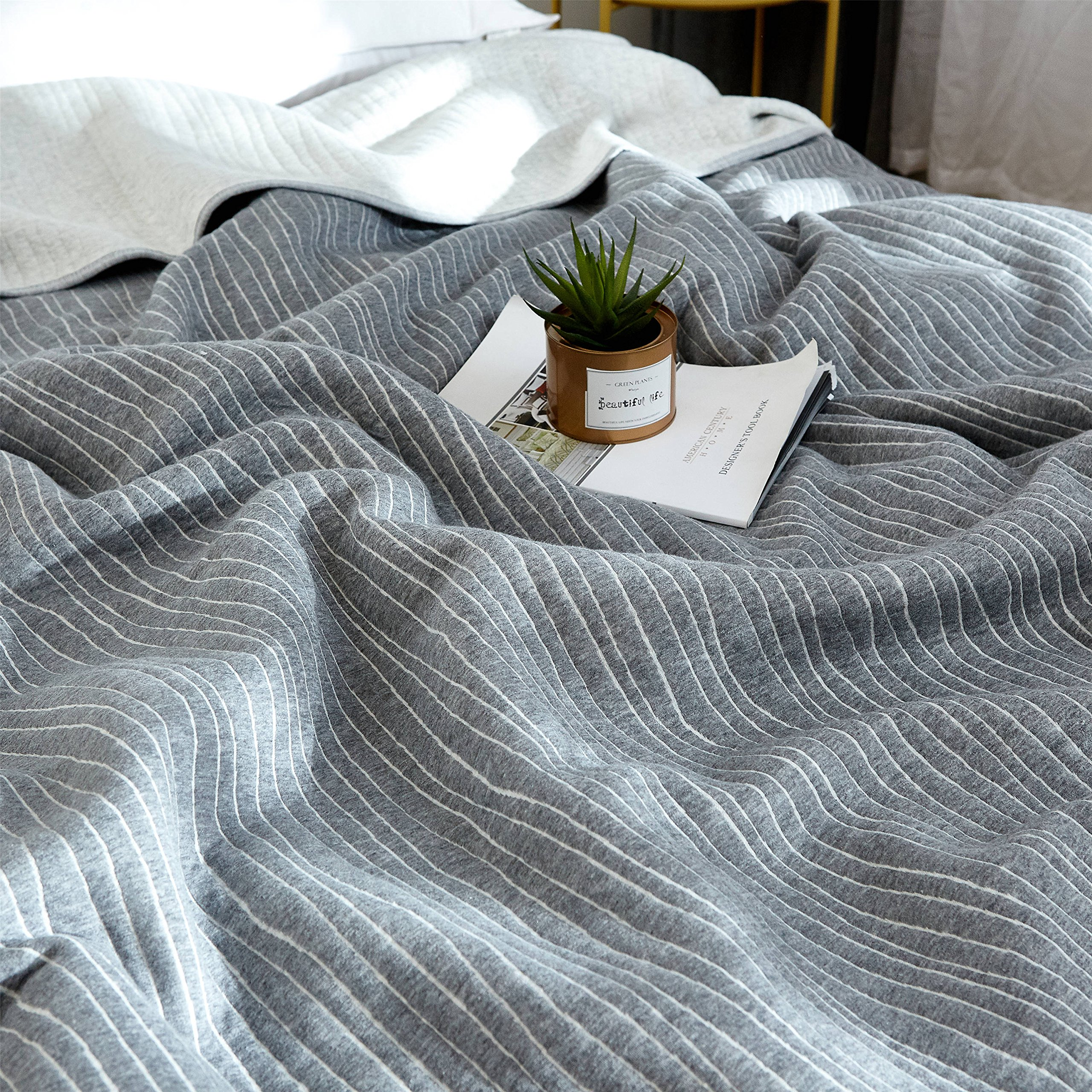 J-pinno Grey Stripes Jersey Cotton Cozy Quilt Reversible Throw Blanket Bedspread Bedding Coverlet for Kids Teen Boys Bed Gift (2, F/Q 78'' X 90'') by J-pinno (Image #2)