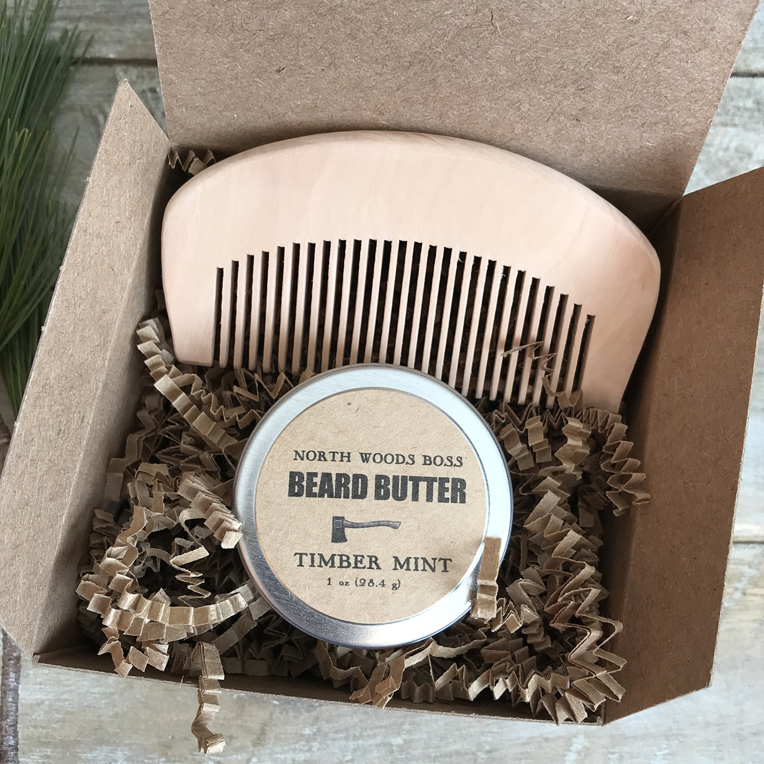Beard Oil Beard Comb Set Beard Butter Fathers Day Gift Handmade in Maine with Organic Oils by North Woods Soap