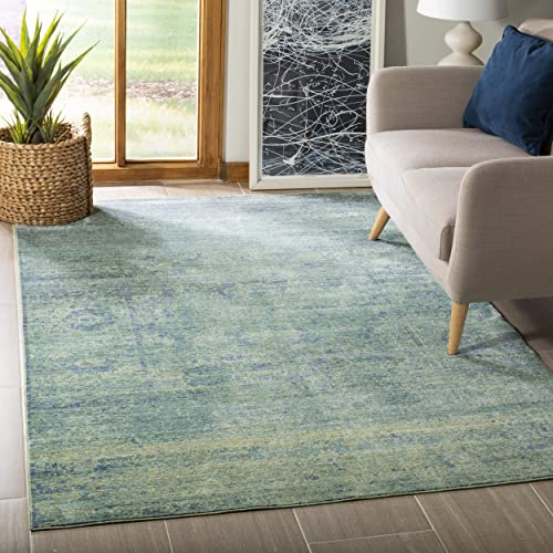 Safavieh Mystique Collection MYS920G Vintage Watercolor Overdyed Green and Multi Distressed Area Rug 5' x 8'