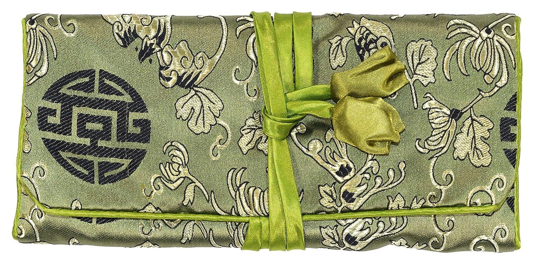 La Soie Brodée Par Fleur Noire Verte Composent Le Rouleau De Bijoux De Sac D'Enveloppe Bees Knees Fashion F22