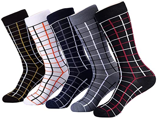 7291df786628 Marino Mens Patterned Dress Socks, Colorful Fun Socks, Fashion Cotton Socks  - 5 Pack