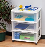IRIS Wide 3-Drawer Cart, White