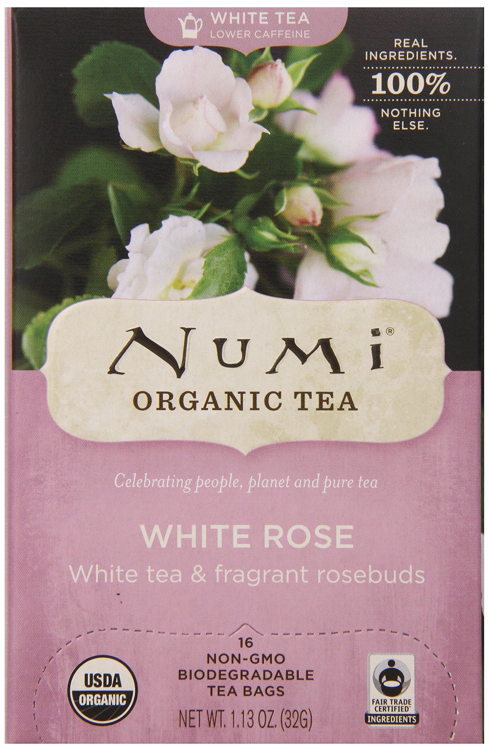 Numi Organic Tea White Rose, 16 Count Box of Tea Bags (Pack of 6) White Tea