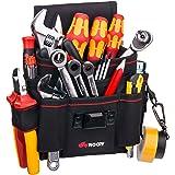 Bolsa de herramientas de lona resistente, de NoCry, 7 espaciosos bolsillos, 10 bucles para herramientas, correa de cintura ajustable y una solapa de cinturón de gancho y lazo resistente.Color Negro
