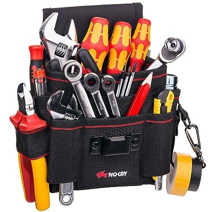 Bolsa de herramientas de lona resistente, de NoCry, 7 espaciosos bolsillos, 10 bucles para herramientas, correa de cintura ajustable y una solapa de ...
