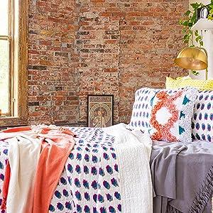 Refinery29 | Maren Bedding Collection | Luxury 100% Cotton Premium Ultra Soft Quilt Coverlet, Lightweight Comfortable 4 Piece Set, Modern Pintuck Design for Home Hotel Décor, King, Blue