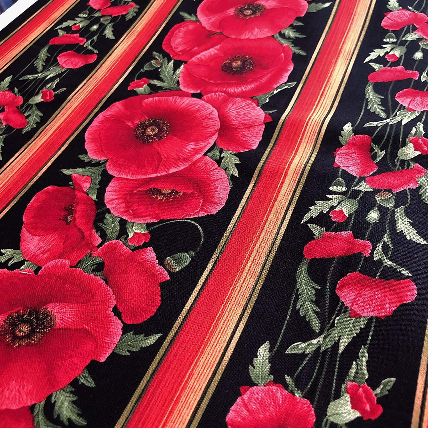 Timeless Treasures Tuscan Poppies by Chong-A Hwang C5836 Black Poppy  Cotton Fab