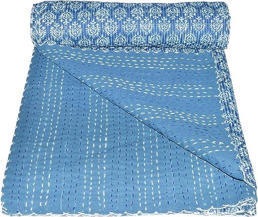 Indian Kantha Quilt Indigo Blue Block Print Ikat Bedspread Ethnic Vintage Art