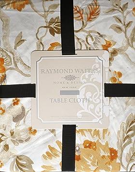 Nappe Motif Floral Tissu Jaune Orange Beige Taupe Sur Creme Raymond