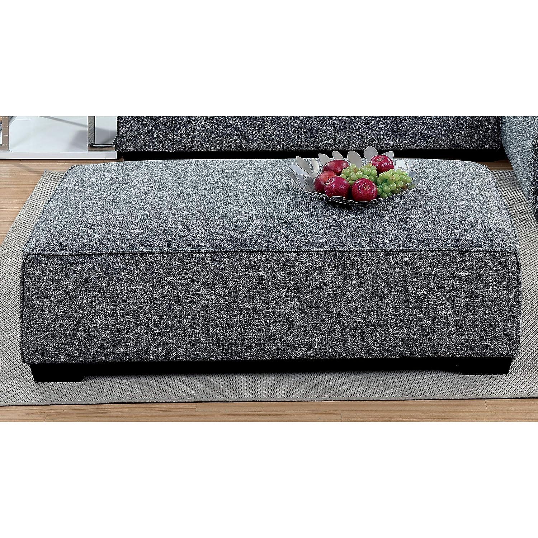 Amazon Com Furniture Of America Merian Modern Welt Trim Linen Grey