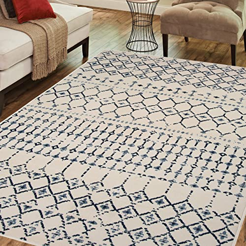 PRIYATE Colorado Collection – Bohemian Motif Design Anti-Slip Carpet for Bedroom, Dining Room, Indoor Outdoor Versatile Area Rugs, Water Repellent Carpet Ivory 7 10 X 10
