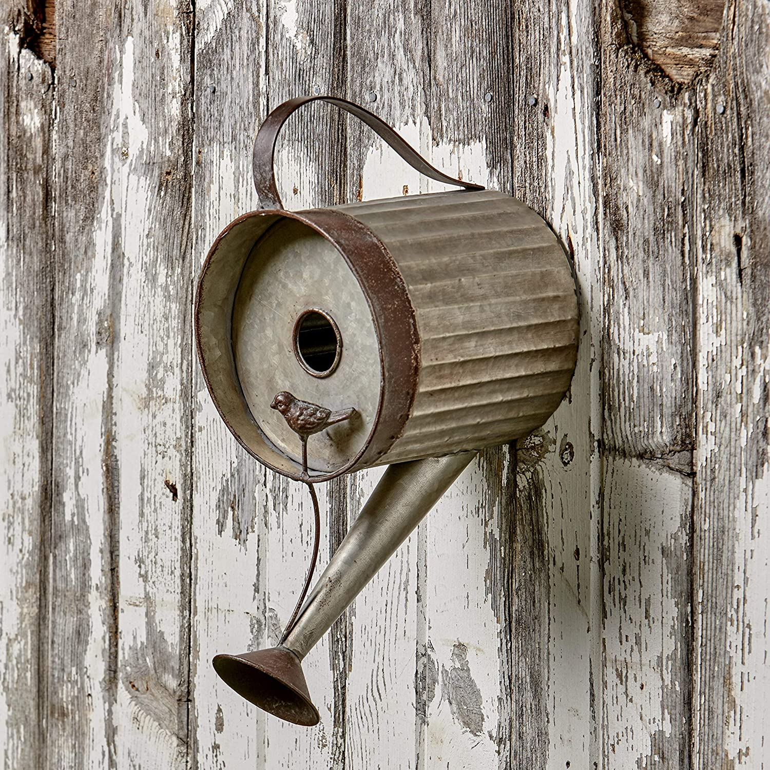 The Lakeside Collection Watering Can Birdhouse - Distressed Metal Bird House for Hanging Outdoors