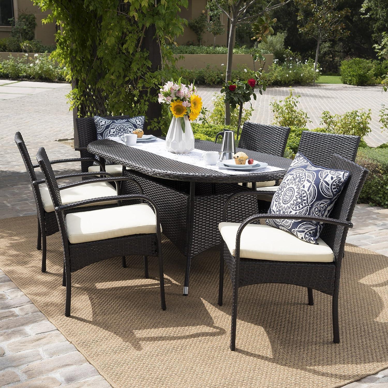 Amazon com carmela patio furniture outdoor 7pc multibrown pe wicker long dining set garden outdoor