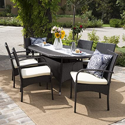 Carmela Patio Furniture ~ Outdoor 7pc Multibrown PE Wicker Long Dining Set