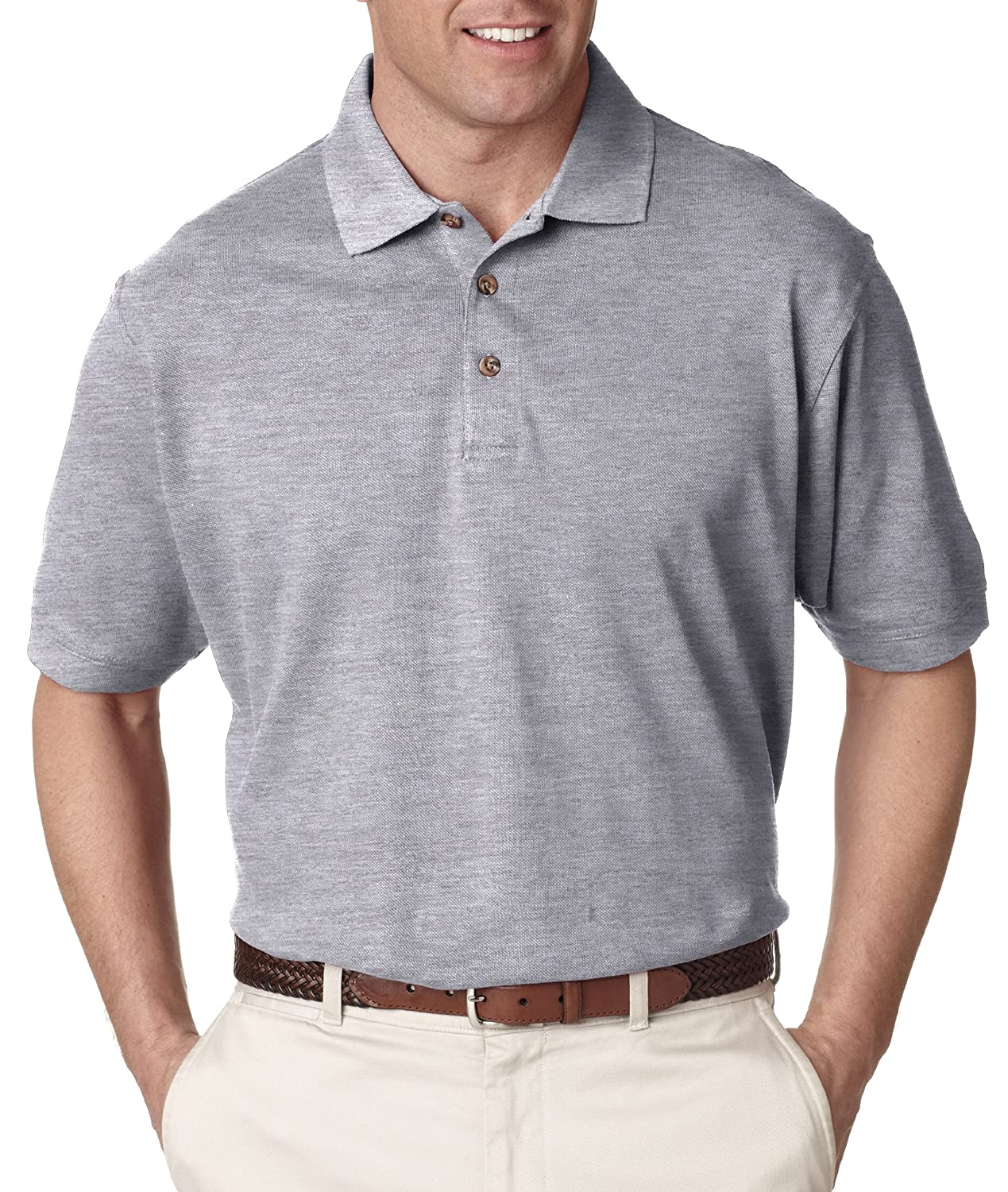 UltraClub Mens Relaxed Fit Taped Neck Classic Pique Polo Shirt