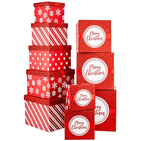 Amazon.com: Wrap N Roll Navidad Glitter Nesting cajas de ...