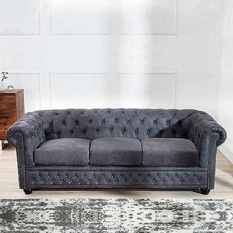 CAGÜ Edler Diseño clásico 3 sofá [Winchester] Gris de Cuero ...