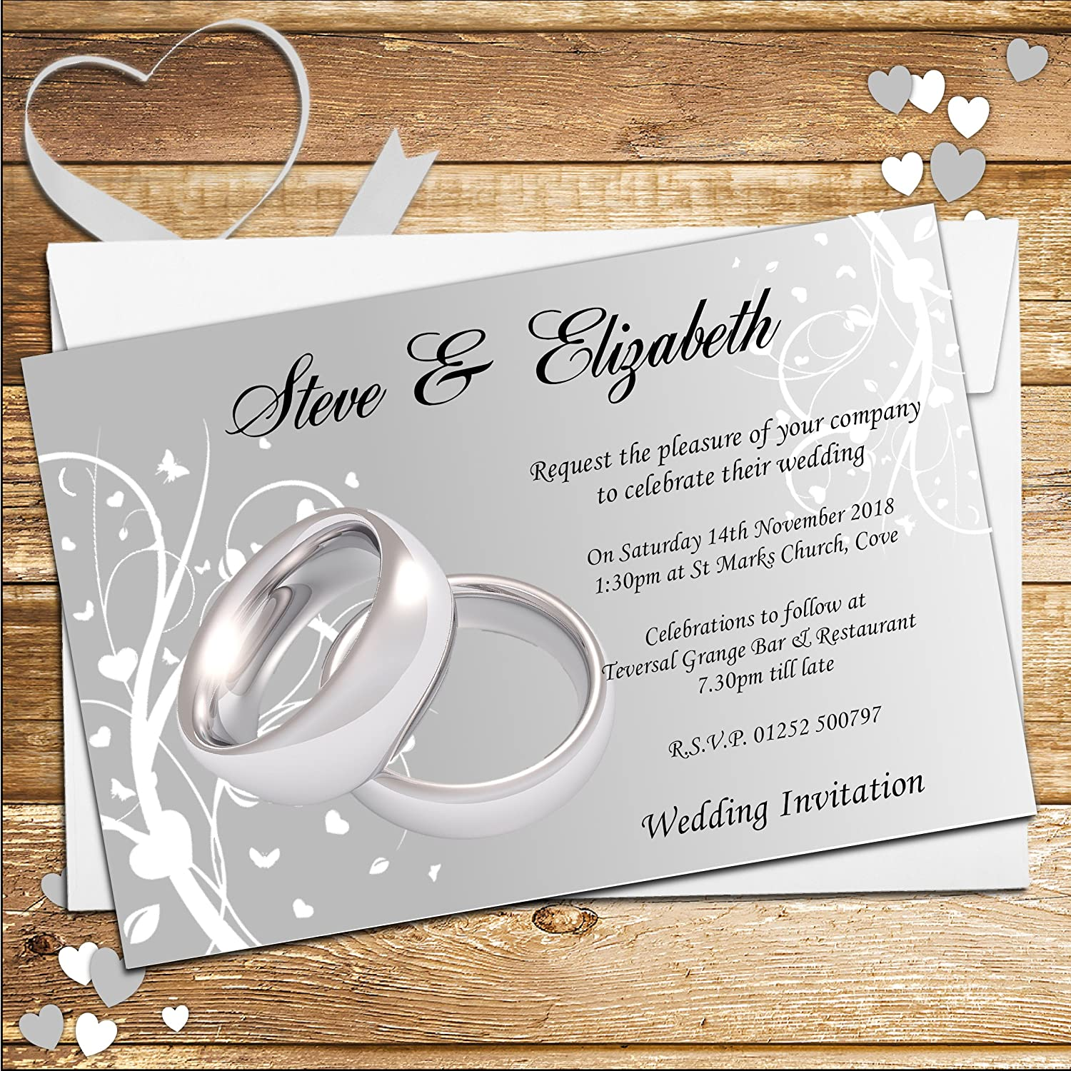 10 Personalised Silver Rings Wedding Invitations N44: Amazon.co.uk ...