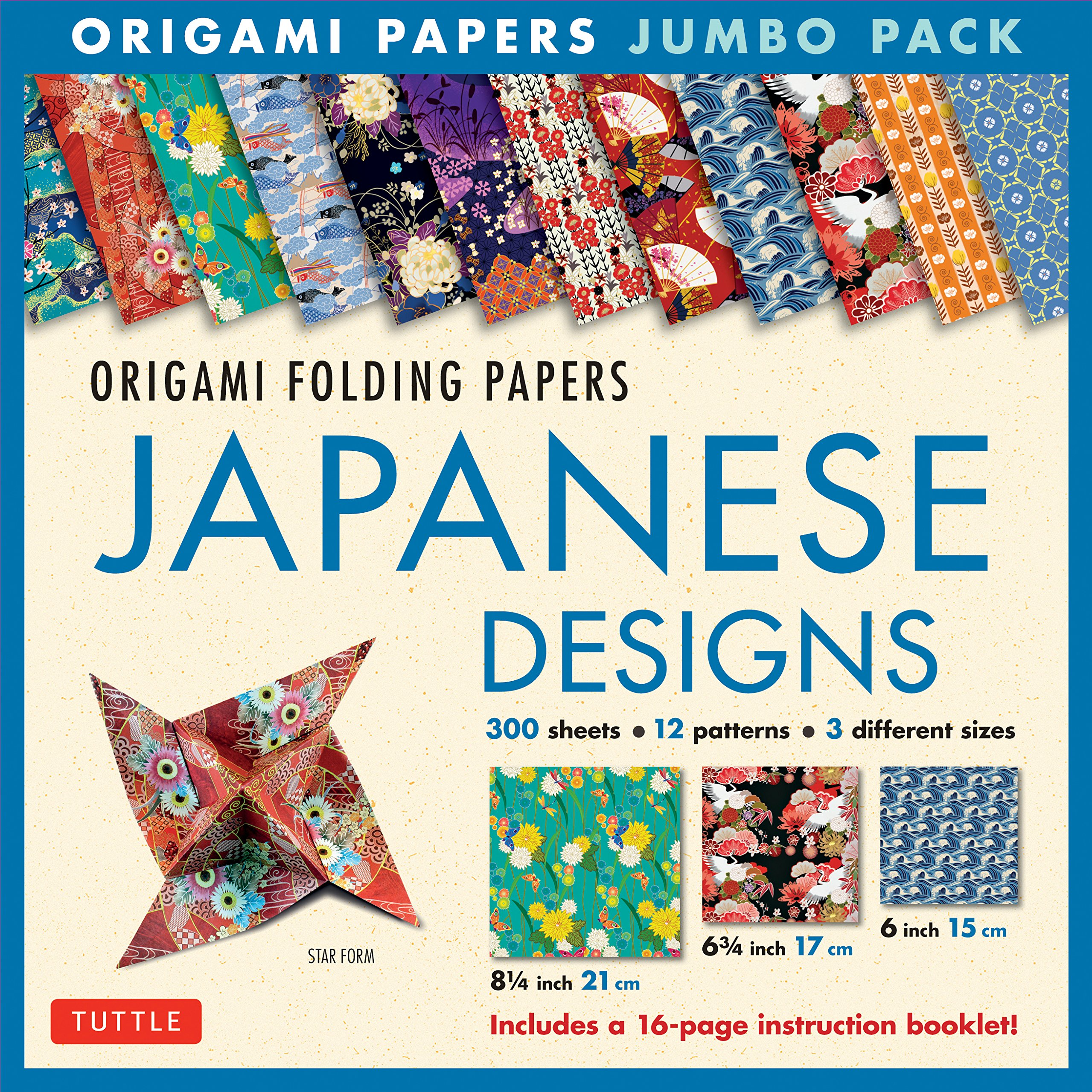 Origami Folding Papers Jumbo Pack: Japanese Designs: 300 High-Quality Origami Papers in 3 Sizes (6 inch; 6 3/4 inch and 8 1/4 inch) and a 16-page Instructional Origami Book Paperback – January 31, 2017 Tuttle Publishing 0804847290 ART / Prints NON-CLASSIF