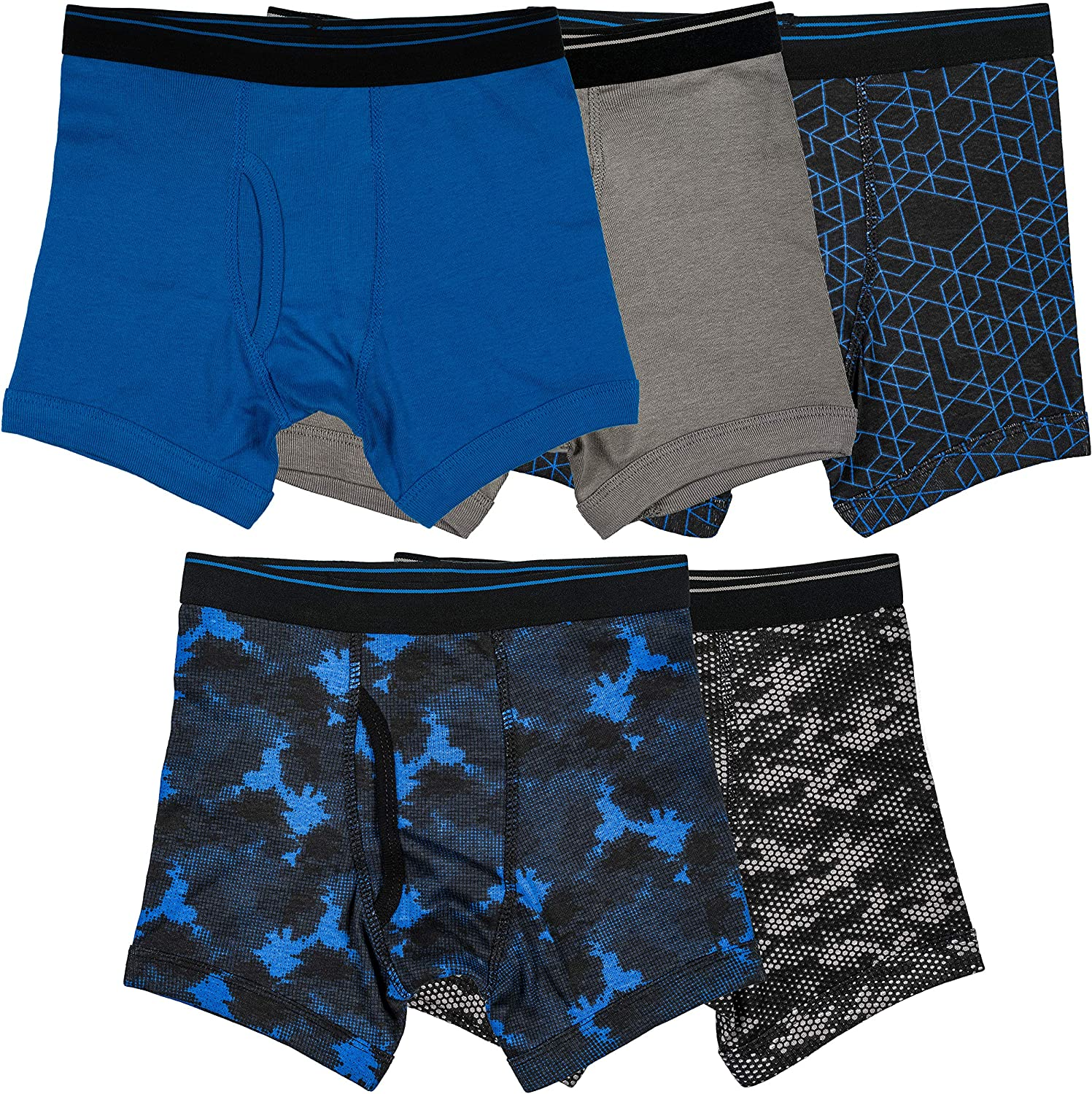 Trimfit Boys 100/% Cotton Tagless Boxer Briefs Underwear 5-Pack